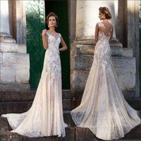Wholesale Floor Weight - High Quality A Line Champagne Wedding Dress Vestios De Novia Sleeveless Lace Appliqued Illusion Neckline Light Weight Bridal Dresses