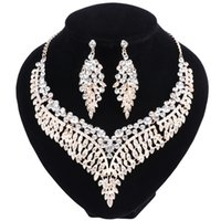 Wholesale Costume Jewellery Bracelets Crystal - Fashion Bridal Jewelry Sets Wedding Engagement Necklace Earring for Bride Party Costume Accessories Indian Jewellery Sets Women