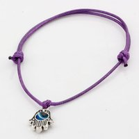 Wholesale Purple Waxed Cord - Hot Sell ! 100 pcs Hamsa Hand String Evil Eye Lucky Purple color wax Cord Adjustable Bracelet