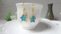 Wholesale Gold Blue Gem Earring - Geode Nature Druzy Earrings Blue Star Crystal Quartz Gem stone Drusy Hook Earrings Gold hooks Jewelry heart