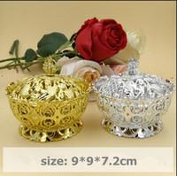 caixas em forma de coroa venda por atacado-50 pcs 9 * 9 * 7.2 cm coroa de prata de ouro forma de festa de casamento de plástico caixas de presente L tamanho caixa de presente de embalagem de doces