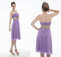Light Purple Brautjungfer Kleider Spaghetti Strap Keen Länge Junior Maid Of Honor Kleider Nachtclub-Kleid-Hochzeitsfest-Strand-Kurzschluss-Kleid ZY