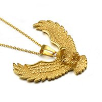 CWFY Punk Biker Gold Color titanio acero inoxidable Animal Eagle Hawk ala colgantes collar para hombre joyería