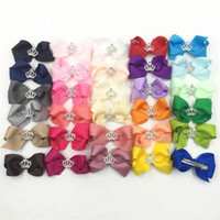 Wholesale Wholesale Diamond Barrette - Fashion Diamonds Crowns Bowknot Kids Hairclips Princess Baby Girls Hair Pins Bow Children Hair Accesories Head Bows A190
