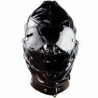 Wholesale Bdsm Restraints - Slave Bright Muzzles Leather Hoods Mask Removable Mouth Gag Goggles Fetish Fantasy Sex Product For Adult Head Restraints BDSM Bondage