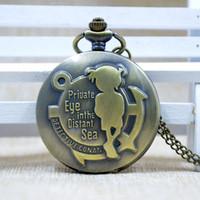 Wholesale Conan Watch - Popular Bronze Detective Conan Golden Face Quartz Pocket Watch Dial Pendant Necklace Chain Unisex Pocket Watch Gift P070G