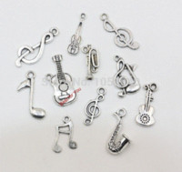 Wholesale Tibetan Coin Jewelry - Mixed Tibetan Silver Musical Key Note Trumpet Instrument Charms Pendants For Jewelry Making Diy Handmade Floating Charm 120pcs