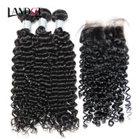 Wholesale hair weave closures pieces for sale - Group buy Brazilian Peruvian Malaysian Indian Cambodian Mongolian Curly Virgin Hair Weave Bundles with Lace Closures Deep Curly Mink Remy Human Hair