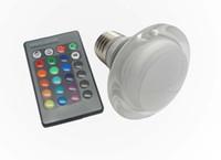 Wholesale light bulbs change colors online - 3W RGB LED Spotlight Bulbs AC V V Lamp Base GU10 E27 Colors Changing Bulb Hotel Club Shopping Mall Decoration Lights CE ROSH