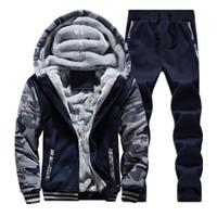 Wholesale Wool Hoodies For Men - Camouflage Sweatshirt Cool Design Thicken Warm Jogging Suits For Men Casual Sportwear Mens Tracksuit Set Hoodie