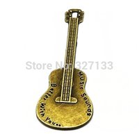 Wholesale Guitar Vintage Jewelry - Free Shipping New Fashion Jewelry 30 pcs Vintage Ancient Bronze Music Guitar Charms Pendant DIY Jewelry Accessories 67x23mmS5659