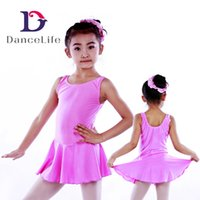 Wholesale Spandex Leotard Dress - Free shipping Child tank dance skirted leotard C2124 wholesale ballet dress dance costumes ballet skirted leotard