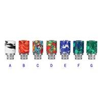 Wholesale Ego E Cigarette Vaporizers - 2015 E Cigarette 510 Turquoise Drip Tip Beautiful Tophus Stone Drip Tips for E cigarette RDA RBA Vaporizers EGO Wide Bore Drip Tips