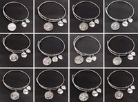 Wholesale Vintage Silver Box Chain - Horoscope Zodiac Expandable Charm Wire Cuff Bracelet Bangles Vintage Silver Bracelets For Women Brand Lovers Gift Wedding Jewelry DIY S353