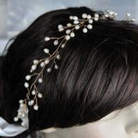 diademas inspiradas al por mayor-Inspirada en la vendimia nupcial venda de la vid tocado de la boda Flexible flexible novia perlas de agua dulce esmalte encantos de la flor de la boda joyería del pelo