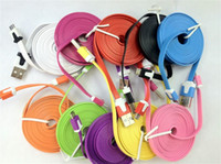 Wholesale Dual Usb Cords - NEW Micro USB 2.0 Cable Sync Data Charging 1m 3ft 2m 6ft 3m Cord Flat Woven Fabric Dual Colors for Samsung Galaxy S3 S4 S5 HTC Blackberry
