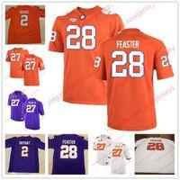 Wholesale Purple Football Jersey 28 - NCAA Clemson Tigers #15 Hunter Johnson 28 Tavien Feaster 27 C.J. Fuller Jr. Orange Purple White Stitched College Football Jerseys S-3XL
