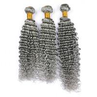 dalgalı saç uzatma atkıları toptan satış-Saf Gri Renk Hint Bakire Insan Saçı Örgü Demetleri Çift Wefts Derin Dalga Dalgalı Gümüş Gri Bakire Insan Saç Uzantıları 300 g / grup