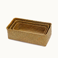 Wholesale wicker storage boxes for sale - Group buy Handmade Straw Storage Box Seagrass Basket Rattan Fruit Container Makeup Organizer Woven Storage Baskets Wicker Baskets