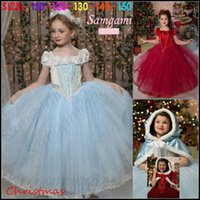 Wholesale Samgami Baby girls Christmas princess party dresses Kids girl frozen cosplay flower lace dress decor beadings with fur collar capes Sa0017