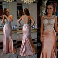 Wholesale Cheap Peach Mermaid Dresses - Sheer Neck Prom Dresses Mermaid with Beaded Lace Appliques Backless Ruched Satin Peach Evening Dresses Long New Design Cheap Party Dresses