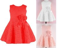 Wholesale Girls Tweed Dress - Girls Dresses Baby Girl Party Dresses girls wedding Dress cute baby girl clothes Lace flower tutu dress design for kids baby clothes
