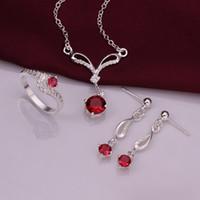 ingrosso oro zircone rosso argento sterling-Fede nuziale 925 Sterling Silver Sparkly Red Zircone Collana Orecchini Anelli Set di gioielli