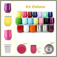Wholesale Double Wall Tumblers - Keep warm cool 9 oz Double Wall Vacuum Insulated Thermos Wine Tumbler Egg Mugs Stainless Steel Wine Glasses For Kitchen Dining Bar Party