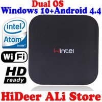 Wholesale Intel Box - New Windows 8.1 OS and rooted Android 4.4.4 Dual system MINI PC Intel Quad Core CPU 2G+32G wintel TV Box multimedia player