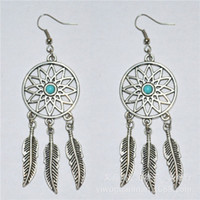 Wholesale Antique Silver Fish - Feather Charms Filigree Dreamcatcher ear hook 925 silver Fish Hook Earrings Dangle Antique Silver 2.8cmx8.5cm