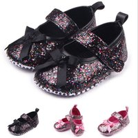 Wholesale Mary Jane Shoes For Girls - Wholesale- Bling Bow Newborn Infant Soft Crib Prewalker Baby Girl Princess Dress Shoes First Walkers Mary Jane Shoes Footwear for Baby Girl