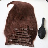 Wholesale straight hair color 33 for sale - Group buy 160g inch Brazilian Clip in hair Extension humann hair Remy Straight Hair weaves set free comb