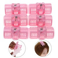 6Pcs / set Plastic Pink Grip Cling Hairress Hair Curler Roller Spring Clips Double Layers Curls Home Use DIY Hair Styling Tool