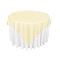 "Wholesale Crochet Round Cloths - Gold Organza Table Overlay Cloth 72""X72"" Wedding Banquet Supply Party Sheer Choose Colors Favor OCL"