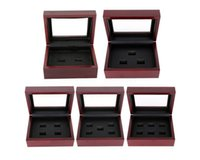 Wholesale Wooden Ring Jewelry Box - Wooden Box Championship Ring Display Case Wooden Boxs Ring 2 3 4 5 6 Holes To Choose Rings Boxe