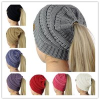 Wholesale Pink Pony Tail - 8 Colors Women CC Ponytail Caps Knitted Beanie Fashion Girls Winter Warm Hat Back Hole Pony Tail Autumn Casual Beanies Acrylic