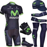 Wholesale Gloves Movistar - Wholesale-New complete set 2015 movistar cycling wear  pro cycling jersey bibs shorts with cycling warmers and half finger bike gloves