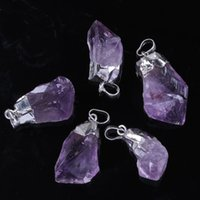 Wholesale Amethyst Druzy Pendant Bead - Wholesale 10Pcs Hot Selling Charm Silver Plated Druzy Amethyst Crystals Stone Random Form Beads Pendant Fashion Jewelry