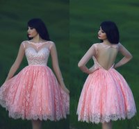 Wholesale amazing party dresses - Amazing Lace Cap Sleeves Homecoming Dresses Pink Crew Neck Crystals A Line Knee Length Pink Short Prom Party Gowns Said Mhamad