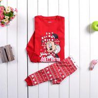 Wholesale Minnie Pyjama - Girl Autumn winter Minnie Pajamas 2015 new Cotton Pyjamas long Sleeve + Pants 2 Piece Suits B001