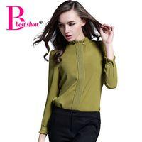Wholesale Korean Formal Woman Shirt - Fashionable Women Shirts 2016 Long Sleeves Women Beaded Stand Collar Blouse Korean Ol Style Casual Office Wear Women Chiffon Top