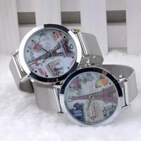 женские часы paris оптовых-Оптовая продажа-старинные Париж Эйфелева башня женщины кварцевые часы женщины девушки дамы студенты повседневная наручные часы Relojes Feminino CMHM599-1