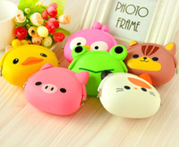 Wholesale Pink Purple Kids Purse - Korean Candy Colored Girls Coin Bags Women Key Wallets Cute Cartoon Silicone Mini Coin Purse Children Kids Gifts