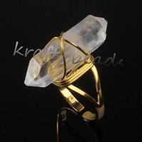 Wholesale Ring Quartz - wholesale 10Pcs Charm Natural Clear Rock Quartz Crystal Stone Random Shape Adjustable Stone Finger Ring Jewelry