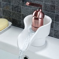 Attractive Basin Faucets White Rose Golden Handle Painted Porcelain Waterfall Hot Cold  Mixer Tap Sink ART Faucet