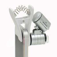 teleskop mobil für iphone großhandel-Handy Mikroskop Lupe 60X Optischer Zoom Teleskop Kamera Universal Clip LED Für iPhone 6 5 S 4 S Samsung objektiv