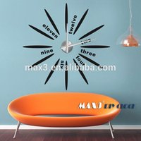 Grand Décor D'horloge Pas Cher-Unique 12 Zodiac gros DIY 3D horloge murale Home Decor miroir Sticker Art Watch