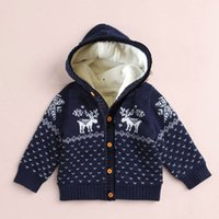 Wholesale Children S Animal Sweater Coats - Children Plus Cashmere Cotton Sweater Coat Cartoon Knitted Thicker Coat Casual Soft Cardigan Single Breasted Coat
