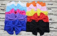 Wholesale big flower hair band girl resale online - baby hair accessory Head wrap Blended cotton fabric Headwrap girl Big Bow Bunny Ears head band stretchy Turban Twist flower Hairband FD6542