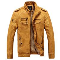 piel de piloto al por mayor-Moda masculina de la motocicleta chaqueta de cuero de los hombres de invierno piloto chaquetas y abrigos de cuero Biker Mantel Mens Faux Fur Coat marca de ropa